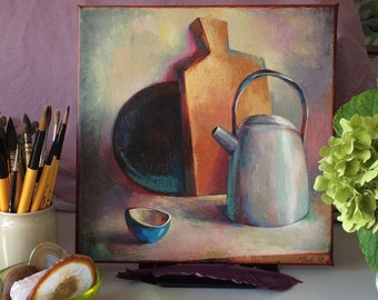 FREE SHIPPING! Original! Still life with blue cup, acrylic on canvas, kitchen art
