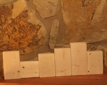 Unfinished Stacking Blocks, Unfinished Wood Blocks, DIY Craft Blocks, Plain, Unpainted, SET of 6 Wood Blocks, FAMILY Blocks, Shelf Sitter