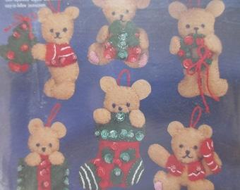 Felt Applique Bear Ornament Kit, Bucilla Mini Bear Ornaments Kit, Christmas Ornament Kit, Christmas Crafting, Tiny Bear Ornaments, 1990s Kit