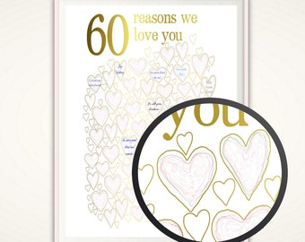 60th Birthday Gift For Mom - PRINTABLE Gold and PINK 60th Birthday Ideas, Party Decorations, Poster, Guest Book Alternative, For Women, DIY