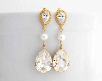 Gold Wedding Earrings, Art Deco Wedding Earrings, Statement Wedding Earrings, Swarovksi Wedding Teardrop Earrings, Cubic Zirconia Earrings