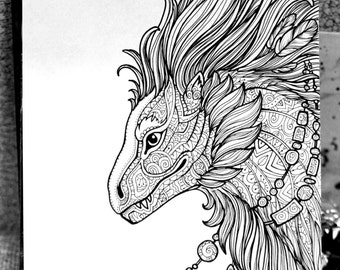 Adult Coloring Page Fantasy Animal Frato Doodle Printable Colouring Zen