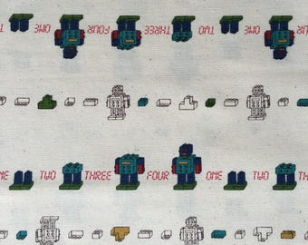Robot Japanese Import Cotton Fabric - 21 Inch x 13 Inch ( 55 cm x 35 cm)