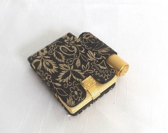 1940s Max Factor Compact and Lipstick Tube w Rhinestones in Black & Gold Brocade Case - Pressed Powder Unused - Vintage Makeup - Gift