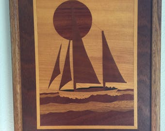 Marquetry - Sailing Boat with Sun