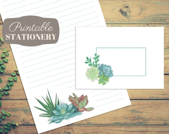 Watercolor Succulents Printable Stationery - Instant Download Letter Writing Sheets and Envelope