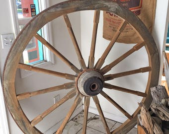 "Large 64"" Real Wagon Wheel - Great for restaurant decor, chandelier, driveway entrance, garden, very bold!"