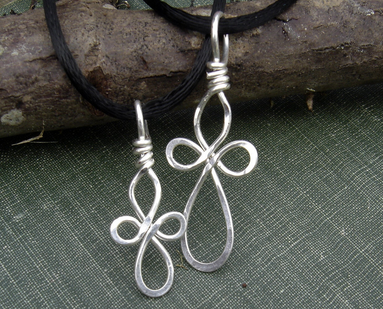 Mother Daughter Celtic Cross Necklaces Set Silver Wire Cross