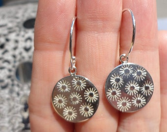 Sunny Days Sterling Silver Earrings - Sterling Silver Drop Earrings - Stamped Suns - Paisley Daze Designs
