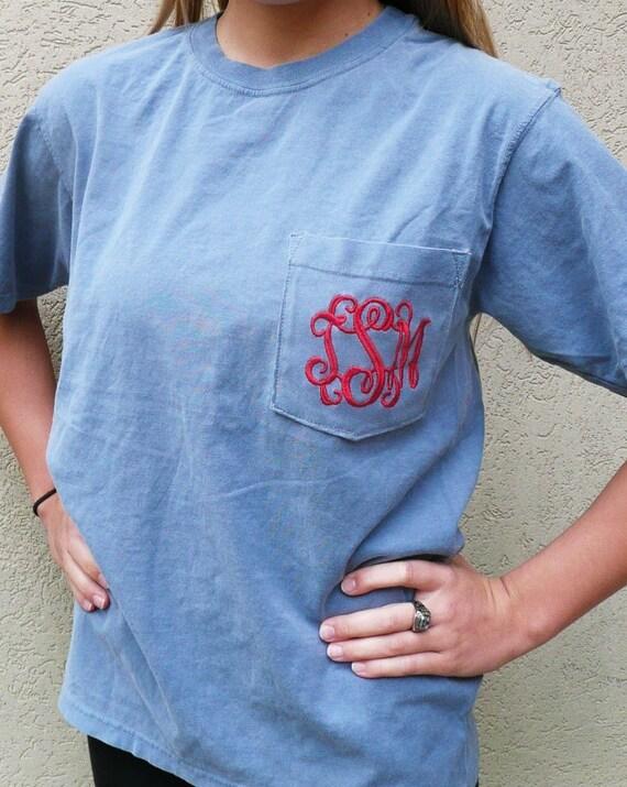 Monogrammed pocket t shirt personalized pocket t shirt for Frat pocket t shirts