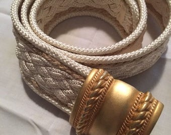 I B Diffusion White Braided Belt with Gold Buckle