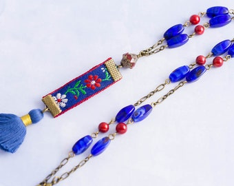 Vintage Embroidered Ribbon Charm Necklace with Red and Blue Bead Rosary Chain with Blue Tassel, Tassel Necklace, Fiber Jewelry