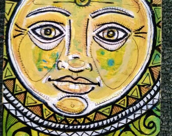 Original Folk Sun Face Painting by Lynnette Shelley