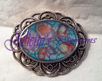 "Brooch ""petunias"" - hand - painted resin cover."