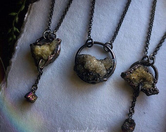 Druzy Crystal Chokers - Quartz Crystal Cluster Chokers with Titanium Aura Accents - crystals set in dark copper