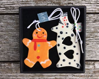 Gingerbread Man/Spotty love heart Pig. Hanging Decorations.ornament/Christmas decorations/kitsch decorations