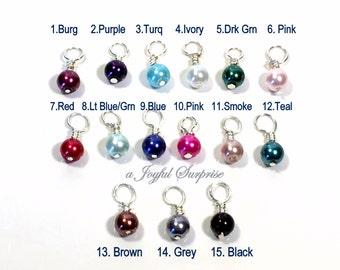 Pearl Birthstone, Pearl Dangle Charm, Add on a birthstone to any listing, birthstone 6mm glass bead