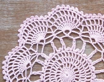Light Pink hand dyed Crochet Vintage Doily rose quartz