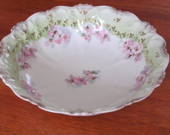 Vintage Imperial Austria Crown Symbol Serving Bowl Pink Floral Gold Trim