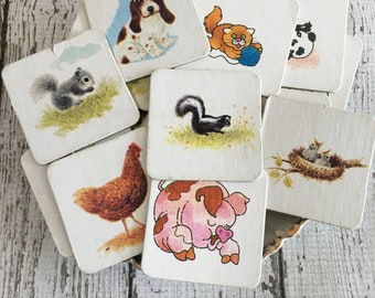 Vintage Memory Game ~ Game Pieces~ANIMALS~ Junk Journal~Altered Art~10 Pieces