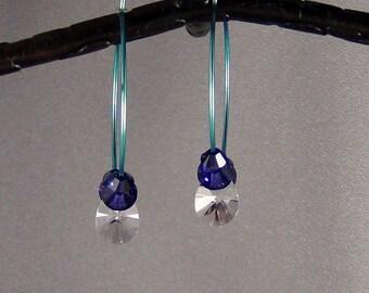 """Teal Niobium Hoop Earrings, Swarovski Crystals - 1 and 1/2"""" (32mm)"""