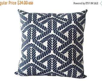 Mothers Day Sale 18x18 outdoor pillow cover, outdoor pillow, nautical pillow cover, beach pillow cover, blue patio throw pillow, blue outdoo
