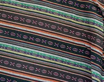 Ethnic, green, black and multicolored striped woven cotton canvas