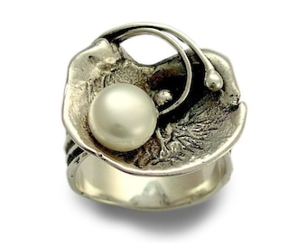 Orchid Pearl Ring, Sterling silver flower ring, Vintage style Bridal ring, pearl and silver, Silver Orchid, modern pearl ring, silver flower
