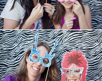 Rock Star Printable PHOTO BOOTH PROPS 80s hair, guitars, microphones - Editable Text >> Instant Download   Paper and Cake