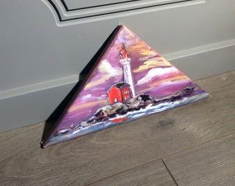 Fisgard Lighthouse original painting triangle art