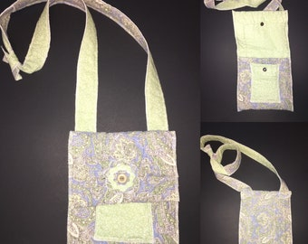 Upcycled crossbody bag - periwinkle and green - one of a kind purse - artsy - boho - wearable art - recycled - repurposed