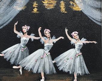 Ballerina art. Art for Girls. Gift for her. Ballet artwork.Tiny dancer.Feminine art.Ballet dancer. Ballet painting.Gifts for women.Girly art