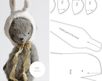 PDF Sewing Pattern & Tutorial Mohair Teddy Bear 6 Inches Easter Bunny Mohair Rabbit Plush Bunny Pattern Stuffed Animal Pattern  For Woman