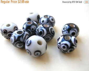 Clearance Sale Black and White Lampwork Beads - Mixed Bead Lot - 12mm
