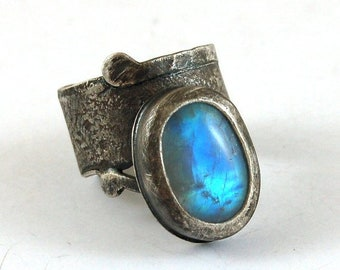 moonstone silver ring, oxidized modern silver ring