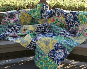 Queen Size Rag Quilt, Handmade, Designer, Amy Butler, Lark, black, yellow, green, pink, modern, All Natural