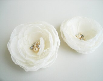 Chiffon flower clip Ivory Bridal Wedding  Hair Flower Clip,  Wedding Hair Accessories, Flower Girl , Wedding Hair Flowers, Flower Hair Clips