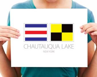 Chautauqua Lake - New York - Nautical Flag Art Print - 8x10 or 11x14