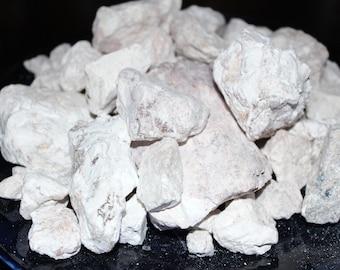 Earthy Goodies White kaolin clay dirt chunks. Raw, edible, & crunchy white dirt pieces