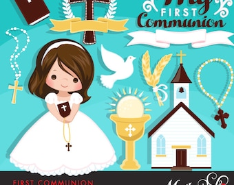 First Communion Clipart for Girls. Cute characters, graphics, bible, church, rosary, banner, holy, religious, cross, invitation stickers