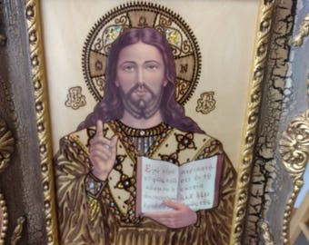 JESUS icon hanging wood picture, perfect gift, Handcrafted, Christmas gift