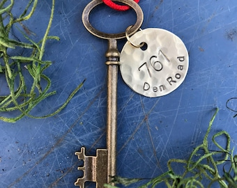 Personalized Housewarming gift, skeleton key,  First Christmas, first home ornament, new home ornament, wedding gift