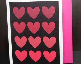 Love, Red Ombre Hearts - Homemade Card