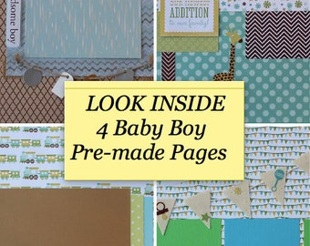 Baby Boy Pre-made 12x12 Scrapbook Pages- 4 Varieties