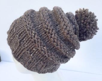 """Knit Slouchy Hat with Pom Pom , Knit Hat Pom Pom, Women's Hat with Pom Pom, Knit Hat, Christmas Gifts, """"Barley"""", Gifts under 30"""