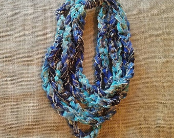 Blue and teal fancy crochet cowl scarf with gold threading