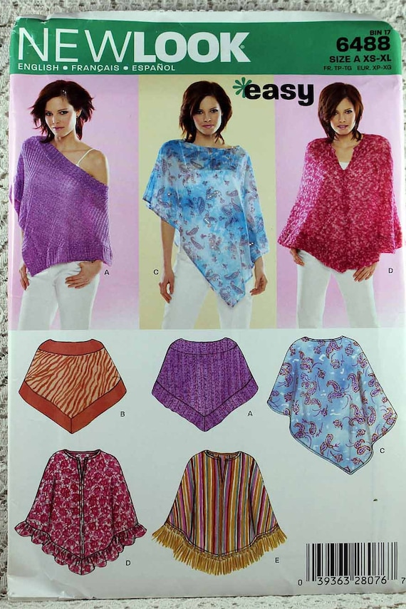New Look 6488, Misses\' Poncho Sewing Pattern, Lightweight Poncho ...