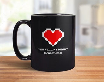Video Game Mug, Nerdy Gift, Geeky Mug, Geek Coffee Mug, Pixel Heart, 8 Bit Heart Container, Nerd Gift for Gamer Mug, Romantic Geek Gift 8Bit