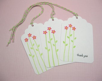 10 Wedding Tags for Favors - White Pink Green Thank You Tags - Bridal Shower Tags - Baby Shower Tags - Quinceanera Tags - Sweet Sixteen Tags