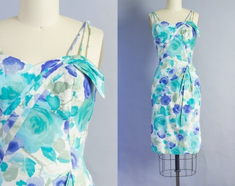 1950s Watercolor Rose Print Wiggle Dress | Small